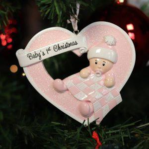 """Addobbo personalizzabile """"Il primo Natale della nostra bimba"""""""
